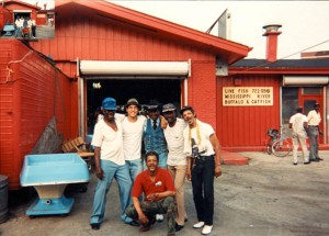 "With Maxwell Street Jimmy Davis, Lil' Wolf, Ashford Gates, ""Bongo Dave"" and another friend. Summer 1994. — at Delta Fish Market, Chicago."